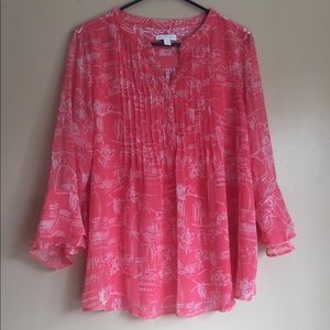 NWT Charter Club coral flowing shirt size L